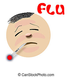 flu victim illustration - flu victim feverish with...