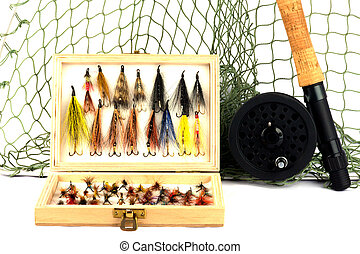 Angling Equipment on White Background