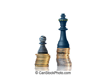 Chess pieces on a stack of coins in the Colors of Greece and...