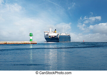 Ferry on the Baltic Sea - Ferry and Pier with green...