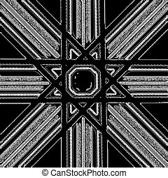 Black and white abstract background with eight-pointed star...