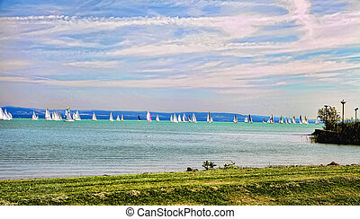View of Lake Balaton, on a sunny day