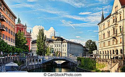 Ljubljana - Slovenia. Church and river Ljubljanica.
