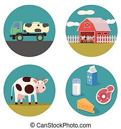 Dairy products flat illustration with cow, milk wagon,...