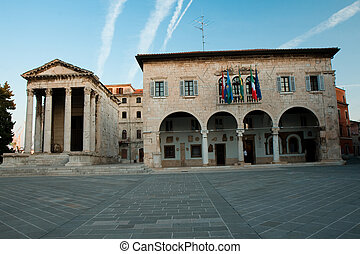 The old roman temple and city hall in the croatian city Pula...