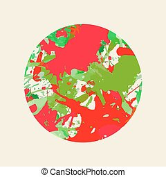 Artistic paint splashes circle - Bright colorful red and...