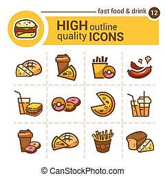 fast food icons - Color flat stickers and icons of fast...