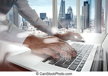 Double exposure of business engineer draw icon of industry...