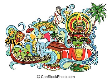 Happy Onam - vector illustration of Happy Onam