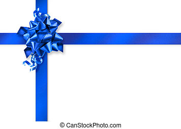Blue gift wrapping - Blue gift wrap ribbons on white...