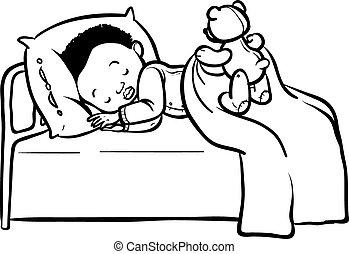 Funny vector cartoon sleeping baby