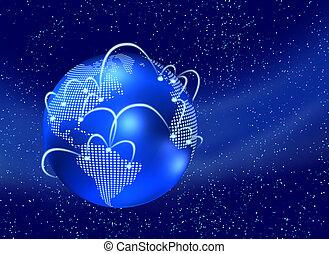 World of internet - Digital earth globe with internet web,...