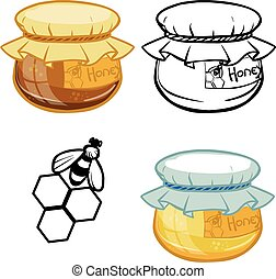 bank of honey isolated background. vector illustration