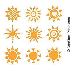 Set of glossy sun images
