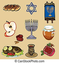 Symbols of Rosh Hashanah (Jewish New year). vector...