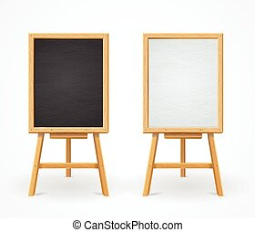 Black Board and White Set On Easel Front View Vector...