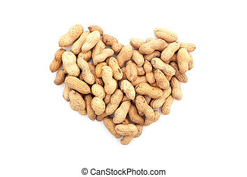 Monkey nuts in a heart shape, isolated on a white background