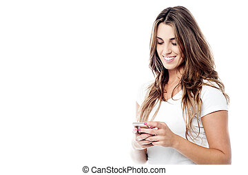 It was an very funny message ! - Cheerful woman messaging...