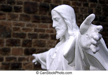 Jesus God monument in a church graveyard - Religious Jesus...