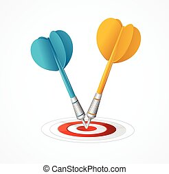 Two Darts hit the target. Vector