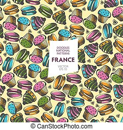 Seamless pattern of tourist attractions of France - Seamless...