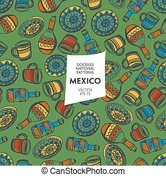 Seamless pattern of tourist attractions Mexico - Seamless...