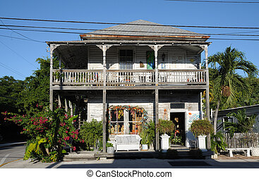 Traditional Wooden House in Key West, Florida Keys USA