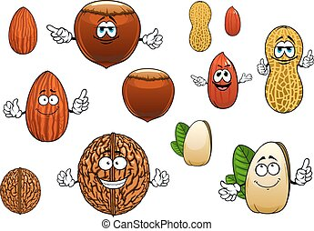 Cartoon isolated funny nuts characters - Tasty whole and...