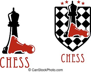 Chess icon with queens over fallen pawns - Chess tournament...