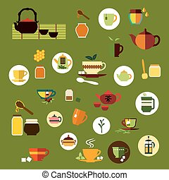 Green, black and herbal tea flat icons - Tea time icons in...