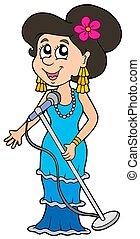 Beautiful singer on white background - isolated...