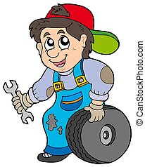 Car mechanic on white background - isolated illustration.