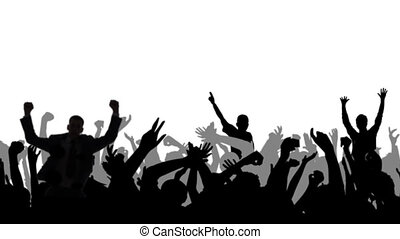 Cheering Crowd Silhouettes With Alp - Dancing crowd, black...