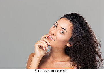 Happy cute woman looking at camera - Beauty portrait of a...