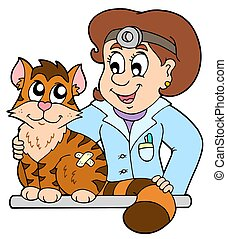 Cat at veterinarian - isolated illustration.