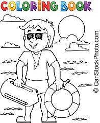 Coloring book life guard theme 1 - eps10 vector illustration...