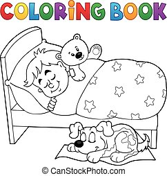 Coloring book sleeping child theme 2 - eps10 vector...