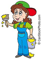 Cute house painter - isolated illustration.