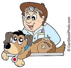 Dog at veterinarian - isolated illustration.