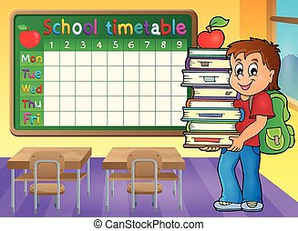 School timetable with boy holding books - eps10 vector...