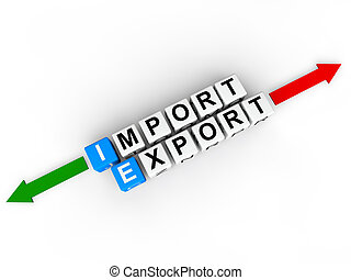 3d cubes with word import export - 3d render of alphabet...