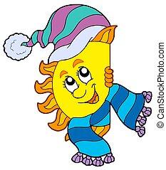 Dibujo de sol gorra invierno  Sun en invierno gorra