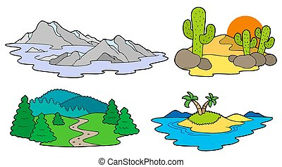 Various landscapes collection - isolated illustration.