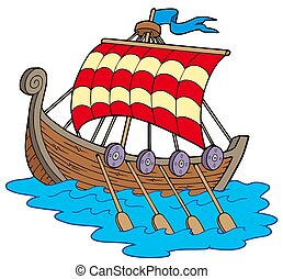 Viking boat on white background - isolated illustration.