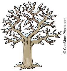 Winter snowy tree - isolated illustration.