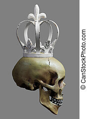 Human Skull with white Crown on 50% Gray Background