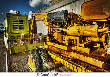close up of a mobile crane in hdr