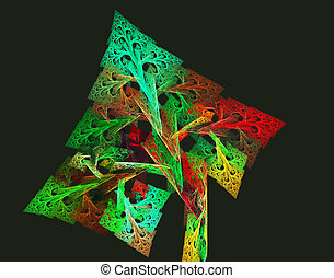 fractal illustration of autumn tree with a braided pattern