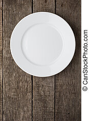 Empty plate on old wooden background Top view