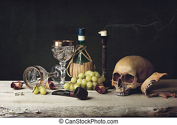 Vanitas with Skull; Pipe, tobacco, dice; wine glass, wine...